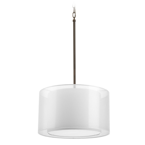 Progress Lighting Modern Drum Pendant Light with White Null Shade in Antique Bronze Finish P5036-20