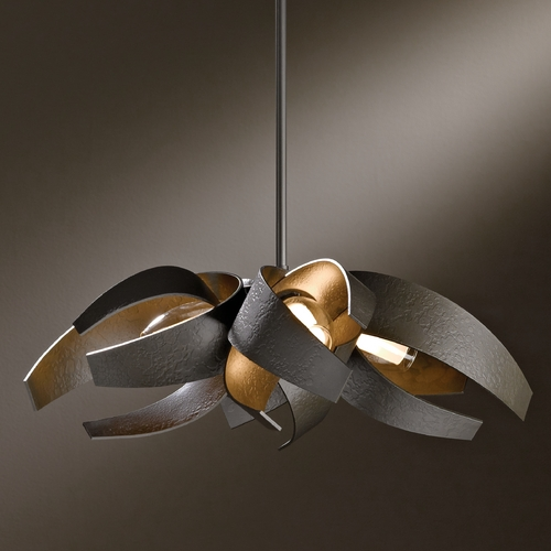 Hubbardton Forge Lighting Hubbardton Forge Lighting Corona Dark Smoke Pendant Light with Cylindrical Shade 136500-07-YE352