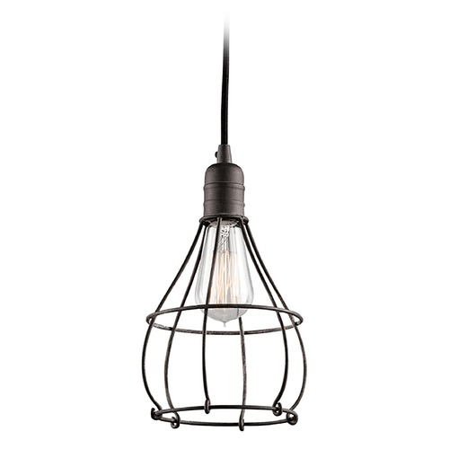 Kichler Lighting Kichler Lighting Industrial Cage Weathered Zinc Mini-Pendant Light 43602WZC