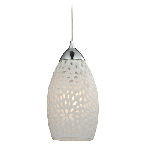 Elk Lighting Elk Lighting Etched Glass Polished Chrome Mini-Pendant Light with Bowl / Dome Shade 10245/1