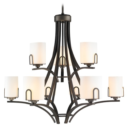 Golden Lighting Golden Lighting Presilla Gunmetal Bronze Chandelier 9363-9 GMT-OP