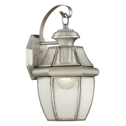 Quoizel Lighting Beveled Seeded Glass Outdoor Wall Light Pewter Quoizel Lighting NY8409P
