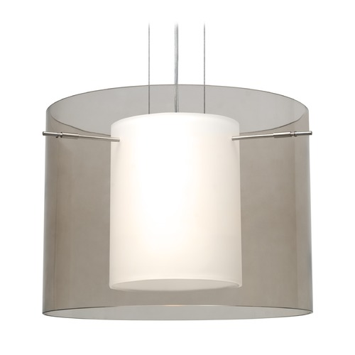 Besa Lighting Besa Lighting Pahu Satin Nickel LED Pendant Light with Drum Shade 1KG-S00707-LED-SN