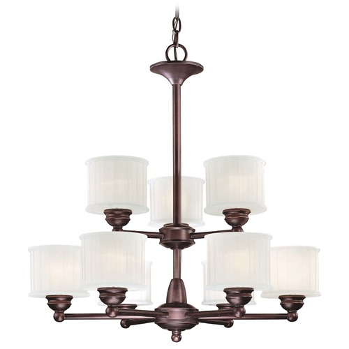 Minka Lavery Modern Chandelier with White Glass in Lathan Bronze Finish 1739-167