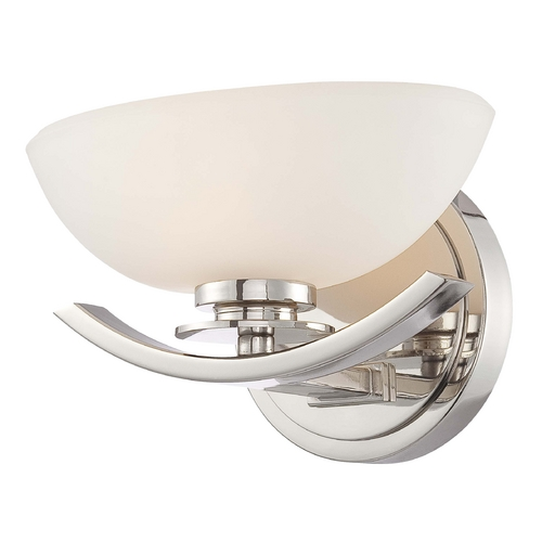 Minka Lavery Modern Sconce with White Glass in Chrome Finish 6921-77