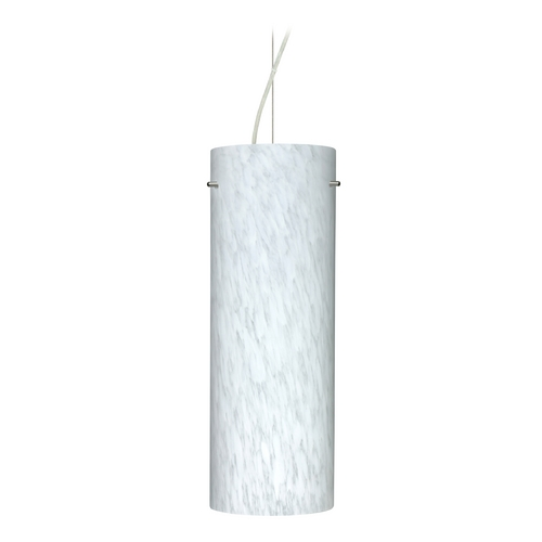 Besa Lighting Modern Pendant Light with White Glass in Satin Nickel Finish 1KX-412819-SN
