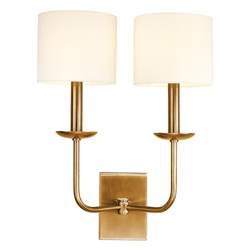 Hudson Valley Lighting Sconce Wall Light with White Shades in Aged Brass Finish 1712-AGB