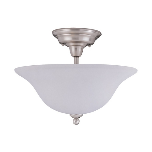 Sea Gull Lighting Semi-Flushmount Light with White Glass in Brushed Nickel Finish 79661BLE-962