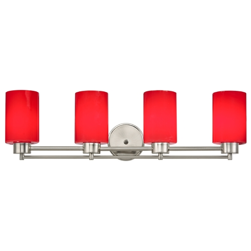 Design Classics Lighting Modern Bathroom Light with Red Glass in Satin Nickel Finish 704-09 GL1008C