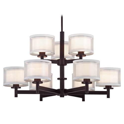 Dolan Designs Lighting Double Organza Bronze Chandelier 2 Tier 9 Lt 1272-30