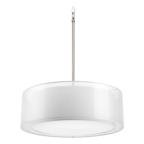 Progress Lighting Modern Drum Pendant Light with White Null Shades in Brushed Nickel Finish P5037-09