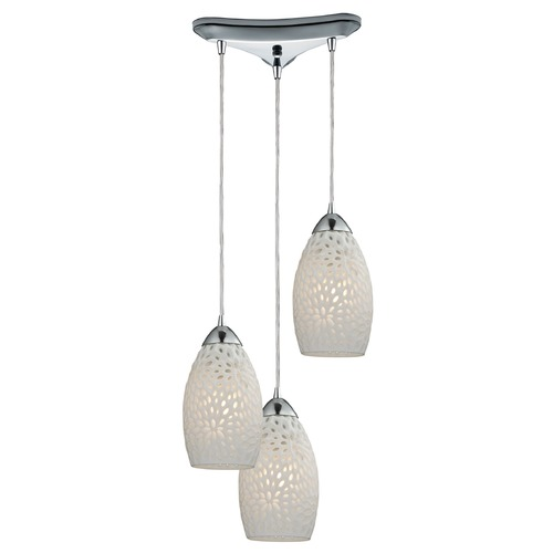 Elk Lighting Elk Lighting Etched Glass Polished Chrome Multi-Light Pendant with Bowl / Dome Shade 10245/3