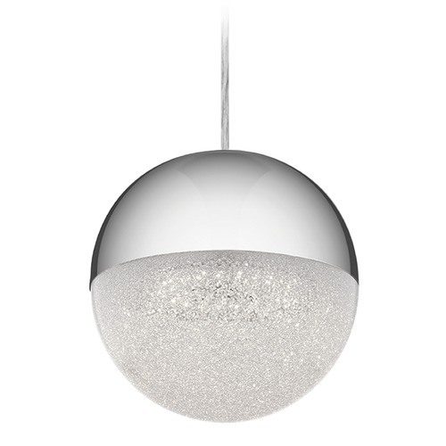 Elan Lighting Elan Lighting Moonlit Chrome LED Pendant Light with Globe Shade 83854