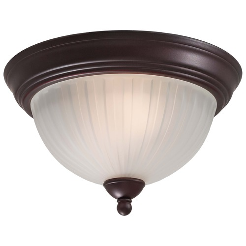 Minka Lavery Modern Flushmount Light with White Glass in Lathan Bronze Finish 1730-167