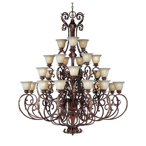 Maxim Lighting Chandelier with Beige / Cream Glass in Auburn Florentine Finish 13569CFAF