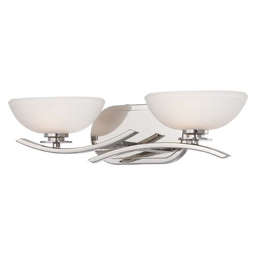 Minka Lavery Modern Bathroom Light with White Glass in Chrome Finish 6922-77