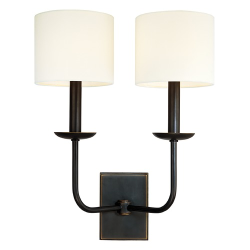 Hudson Valley Lighting Sconce Wall Light with White Shades in Old Bronze Finish 1712-OB