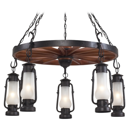 Elk Lighting Chandelier with White Glass in Matte Black Finish 65007-5