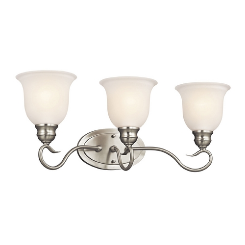 Kichler Lighting Kichler Bathroom Light with White Glass in Brushed Nickel Finish 45903NI