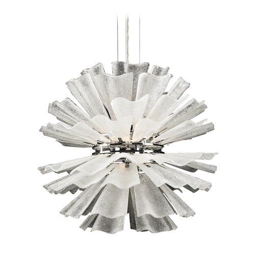 PLC Lighting Modern Pendant Light with White Glass in Polished Chrome Finish 82333 PC
