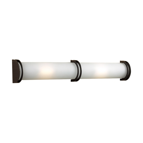 PLC Lighting Modern Bathroom Light with White Glass in Oil Rubbed Bronze Finish 1003 ORB