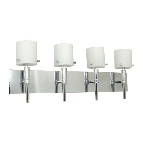 Nuvo Lighting Modern Bathroom Light with White Glass in Polished Chrome Finish 60/1074