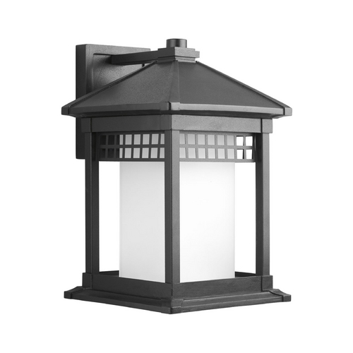 Progress Lighting Progress Outdoor Wall Light with White Glass in Black Finish P6002-31