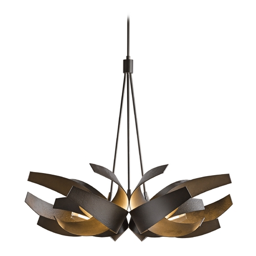 Hubbardton Forge Lighting Hubbardton Forge Lighting Corona Dark Smoke Pendant Light with Cylindrical Shade 136505-SKT-STND-07-YE0377