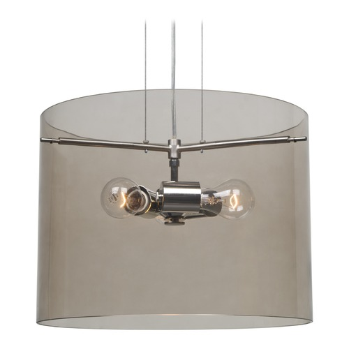Besa Lighting Besa Lighting Pahu Satin Nickel Pendant Light with Drum Shade 1KG-S00707-SN-NI