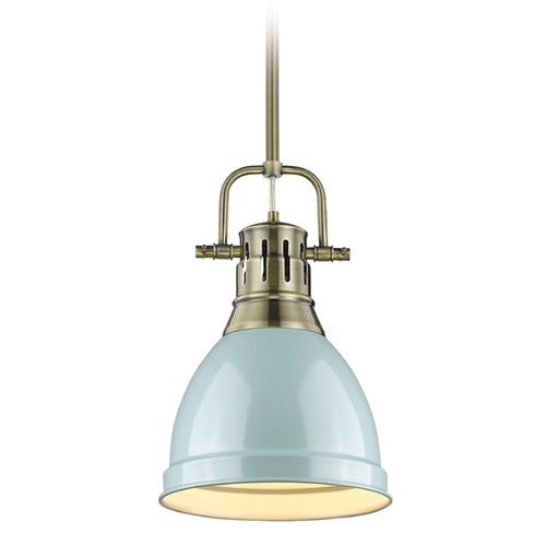 Golden Lighting Golden Lighting Duncan Ab Aged Brass Mini-Pendant Light with Bowl / Dome Shade 3604-S AB-SF