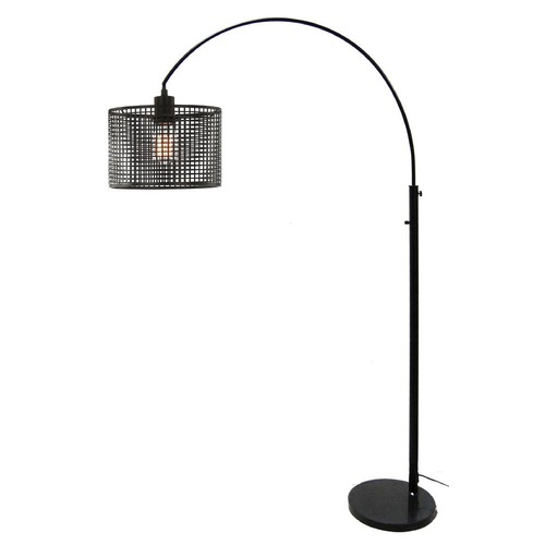 Lite Source Lighting Lite Source Hamilton Black Arc Lamp with Drum Shade LS-83018