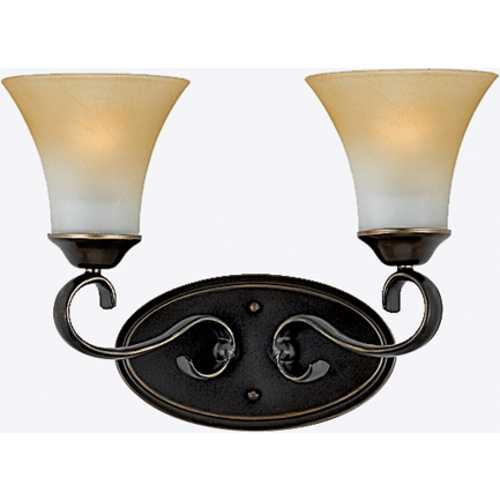 Quoizel Lighting Bathroom Light with Brown Glass in Palladian Bronze Finish DH8602PN