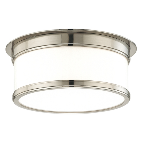 Hudson Valley Lighting Flushmount Light with White Glass in Satin Nickel Finish 712-SN