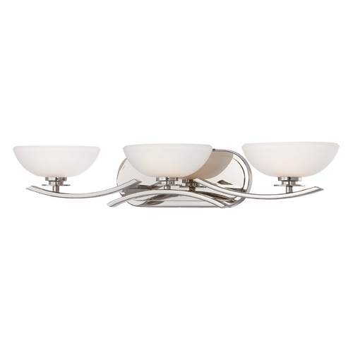 Minka Lavery Modern Bathroom Light with White Glass in Chrome Finish 6923-77