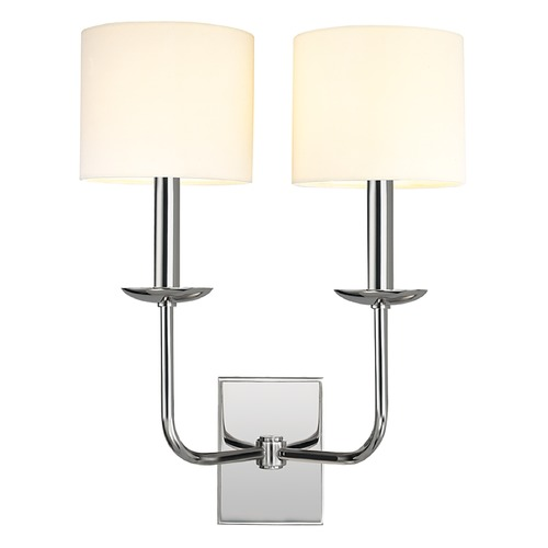Hudson Valley Lighting Sconce Wall Light with White Shades in Polished Nickel Finish 1712-PN