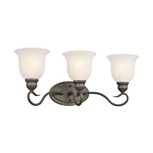Kichler Lighting Kichler Bathroom Light with White Glass in Olde Bronze Finish 45903OZ