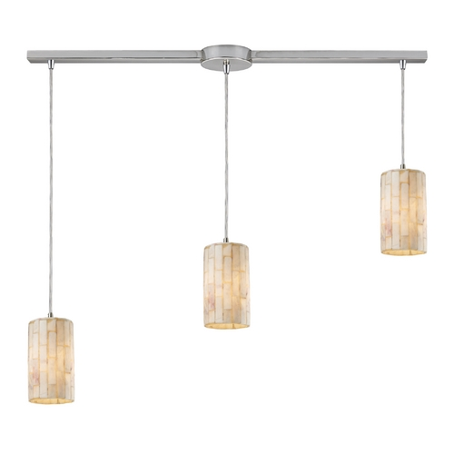 Elk Lighting Multi-Light Pendant Light with Beige / Cream Shades and 3-Lights 10147/3L
