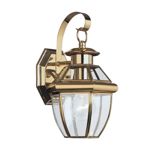 Sea Gull Lighting Outdoor Wall Light with Clear Glass in Polished Brass Finish 8037-02