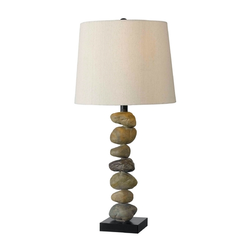 Kenroy Home Lighting Table Lamp with Beige / Cream Shade in Stone Finish 32123STN