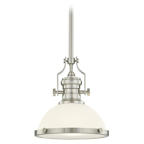 Design Classics Lighting Design Classics Ellis Satin Nickel Pendant Light with Bowl / Dome Shade 1908-09