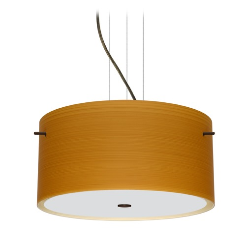 Besa Lighting Besa Lighting Tamburo Bronze LED Pendant Light with Drum Shade 1KV-4008OK-LED-BR