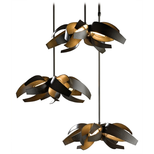 Hubbardton Forge Lighting Hubbardton Forge Lighting Corona Dark Smoke Multi-Light Pendant with Cylindrical Shade 136510-SKT-STND-07-YE0352
