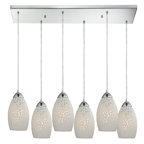 Elk Lighting Elk Lighting Etched Glass Polished Chrome Multi-Light Pendant with Bowl / Dome Shade 10245/6RC