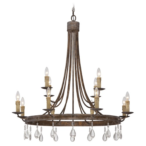Savoy House Savoy House Bronze Patina Crystal Chandelier 1-202-12-15