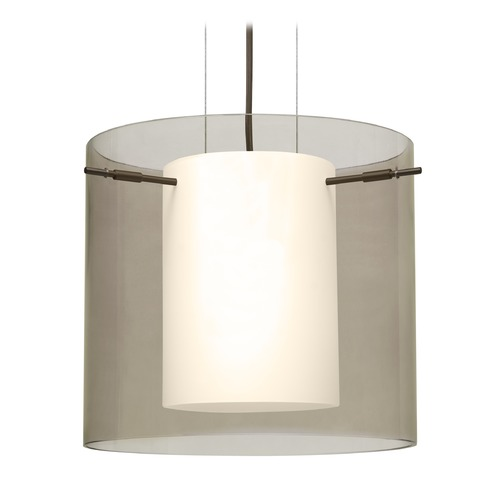Besa Lighting Besa Lighting Pahu Bronze Pendant Light with Drum Shade 1KG-S18407-BR