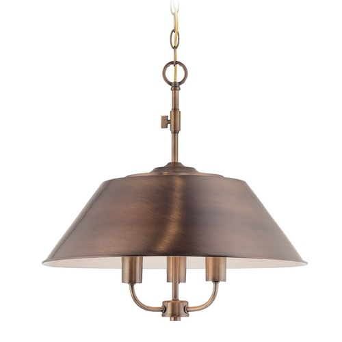 Designers Fountain Lighting Designers Fountain Newbury Station Old Satin Brass Pendant Light with Empire Shade 85431-OSB
