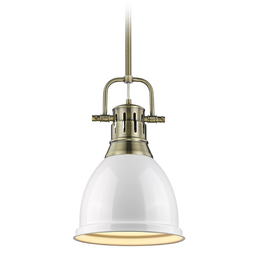 Golden Lighting Golden Lighting Duncan Ab Aged Brass Mini-Pendant Light with Bowl / Dome Shade 3604-S AB-WH