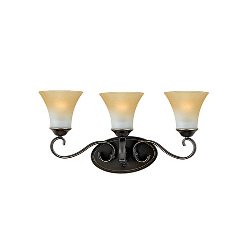 Quoizel Lighting Bathroom Light with Brown Glass in Palladian Bronze Finish DH8603PN