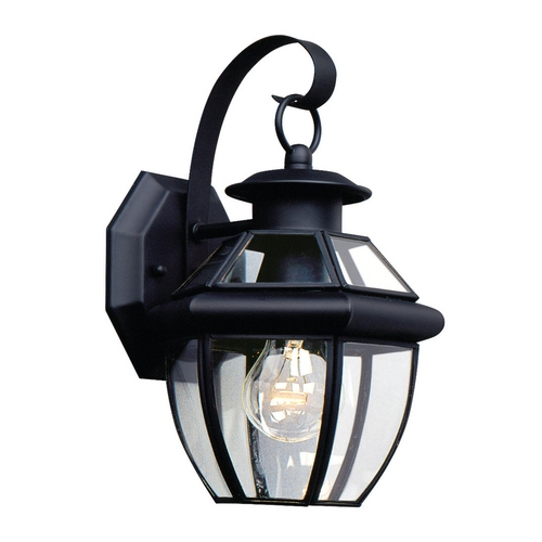 Sea Gull Lighting Outdoor Wall Light with Clear Glass in Black Finish 8037-12