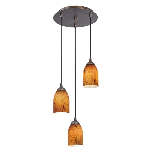 Design Classics Lighting Modern Multi-Light Pendant Light with Brown Art Glass and 3-Lights 583-220 GL1001D